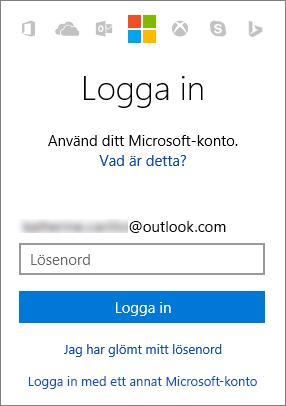 Skärmbild som visar inloggningsfönstret för Microsoft-kontot