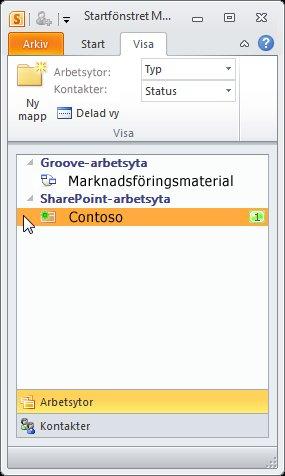 En SharePoint-arbetsyta i startfönstret
