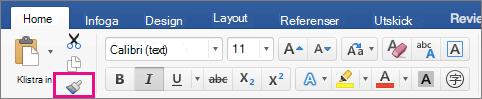 Alternativet Kopiera formatering från en plats och använd på en annan plats på fliken Hem är markerat.