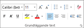 Alternativen i gruppen Grundläggande text