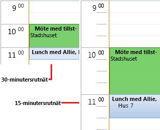 Exempel på 30- och 15-minuters tidsintervall i kalenderrutnätet