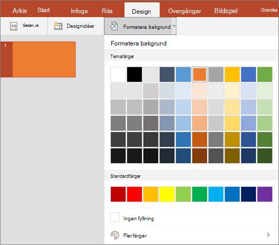 Visar alternativ för Formatera bakgrund på fliken Design i PowerPoint.