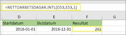 =NETTOARBETSDAGAR.INT(D53,E53,1) och resultatet: 261