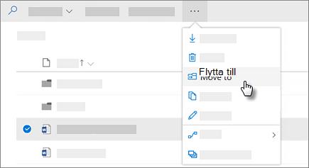 Skärm bild av kommandot Flytta till i OneDrive för företag