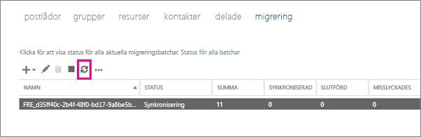 Klicka på uppdatera om du vill visa synkronisering av postlådor.