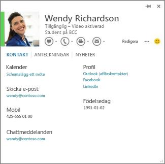 Exempel på ett kontaktkort som kan öppnas genom att klicka på bilden för personen som har kommenterat.