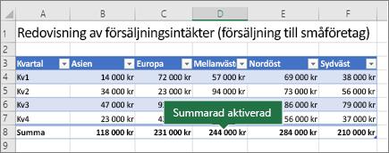 Excel-tabell med Summarad aktiverat