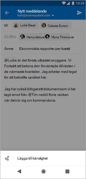 Skärmbild av knappen Lägg till känslighet i Outlook för Android