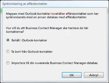 dialogruta för synkronisering av affärskontakt