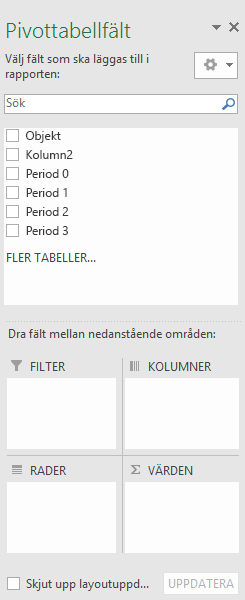 Fönstret PivotTable Fields