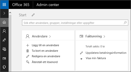 Visar administrationscentret i Office 365.