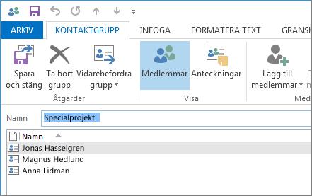 Din nya kontaktgrupp ska nu innehålla personer