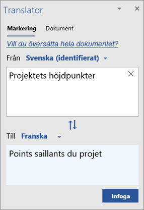 Översättningsfönstret med ord som översatts från svenska till franska