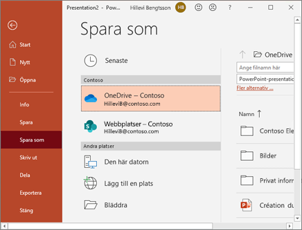 Spara PowerPoint på OneDrive