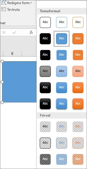 Galleri med figurformat som visar de nya förinställda formaten i Excel 2016 för Windows