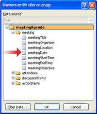 Markera meetingDate-fältet i dialogrutan Markera ett fält eller en grupp