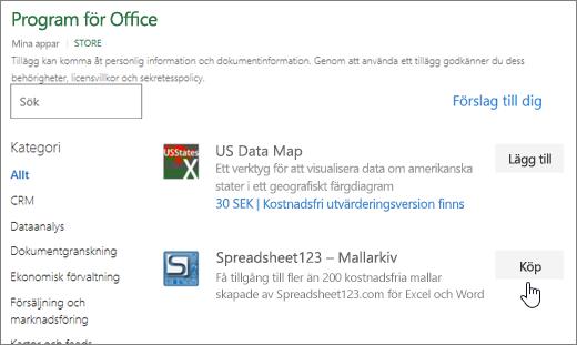 Skärmbild som visar Office-tillägg sida där du kan välja eller söka efter ett tilläggsprogram för Excel.