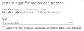 Ställ in språk för Outlook Web App och bestäm dig för om du vill byta namn på mappar