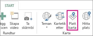 Knappen Platt karta på fliken Startsidan för Power Map