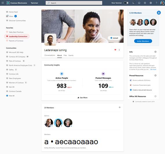 Skärm bild som visar community-insikter i Yammer när användaren klickar på Visa mer