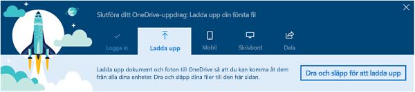 skärm bild av den guidade visning i OneDrive som visas när du först använder OneDrive för företag i Office 365