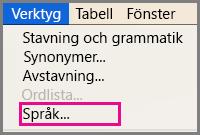 Verktyg i Office för Mac, menyn Språk