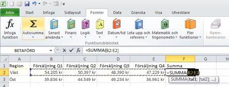 Använda Autosumma för att lägga till en rad med data