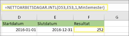 =NETTOARBETSDAGAR.INT(D53,E53,1,MinaSemestrar) och resultatet: 252