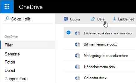 Skärmbild av en markerad fil och knappen Dela i OneDrive.
