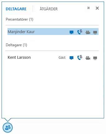 skärmbild med ikonerna intill en deltagares namn som visar tillgängligheten till snabbmeddelanden, ljud, video och delning
