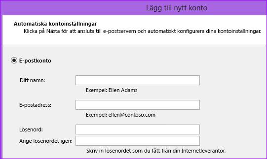 Outlook 2010, lägga till namn och e-postadress