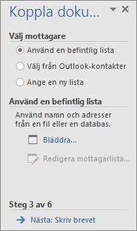 Åtgärdsfönstret Koppla dokument som öppnas när du väljer Steg för steg-guiden Koppla dokument i gruppen Koppla dokument i Word