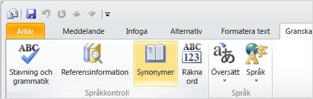 Ikonen Synonymer i menyfliksområdet i Outlook