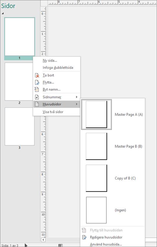 En skärm bild visar det snabb meny alternativ som är markerat för huvud sidor med alternativ för huvud sidor.