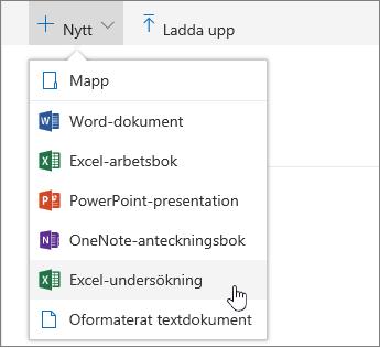 Menyn Nytt, kommandot Excel-undersökning