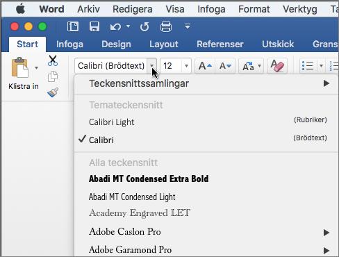Klicka på teckensnitt listrutan i Word för att ändra teckensnitt på texten.