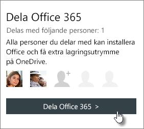 """Skärmbild av avsnittet """"Dela Office 365"""" på sidan Mitt konto som visar att prenumerationen delas med 1 person."""