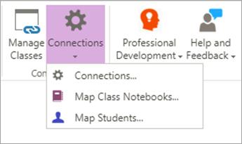 Välj anslutningar på menyfliken anteckningsbok för klassen.