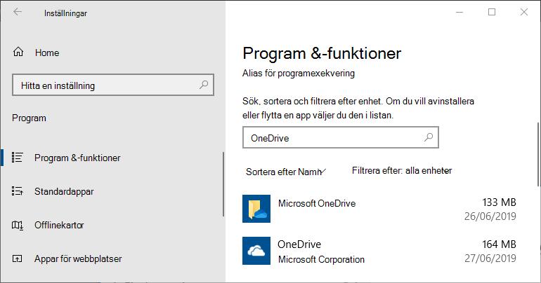 OneDrive i appinställningarna i Windows