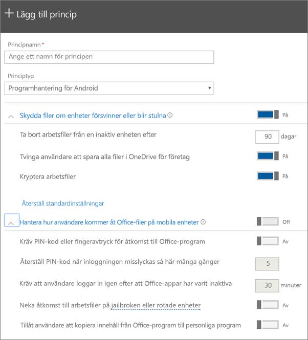 Skärmbild av Skapa en princip med Programhantering för Android markerat