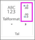 öka eller minska decimaler i talformatering