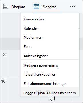 Skärmbild av grupplanering meny med Lägg till abonnemang till Outlook-kalendern markerat.