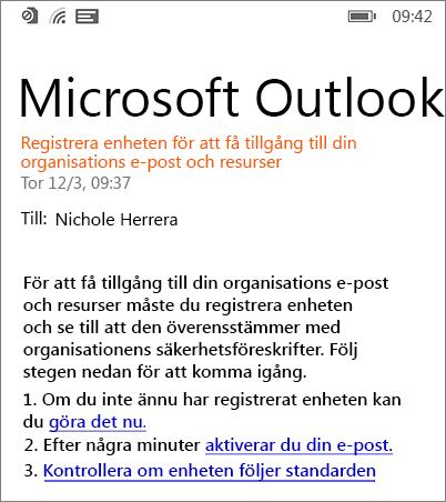 E-postmeddelande om registrering på Windows Phone