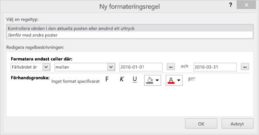 Skärmbild av gränssnittet för Ny formateringsregel