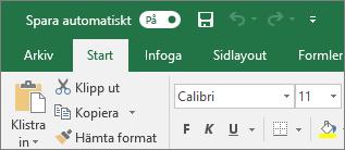 Namnlisten i Excel visar växlingsknappen Spara automatiskt