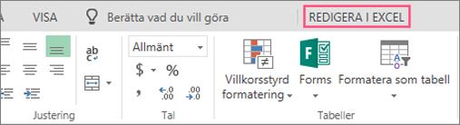 Knappen Redigera i Excel