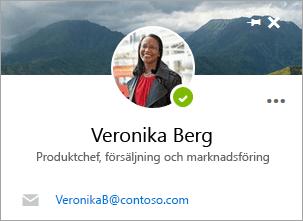 En skärmbild av kontaktkortet på sidan Kontakter.