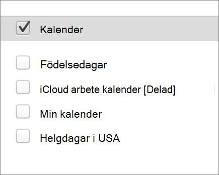 iCloud kalender i Outlook 2016 för Mac