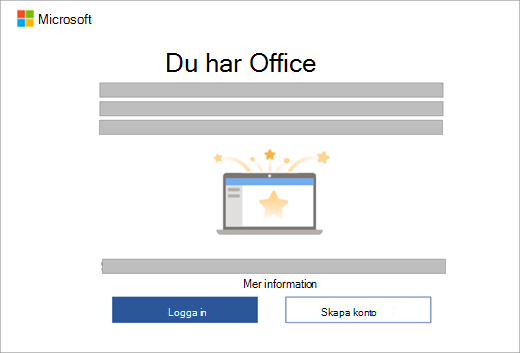 Visar dialogrutan som visas när du öppnar en Office-app på en ny enhet som innehåller en Office-licens.