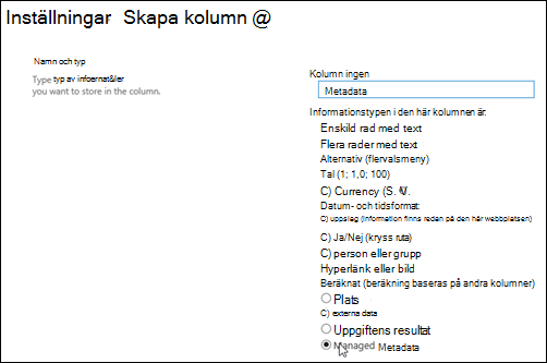 Skapa en List kolumn